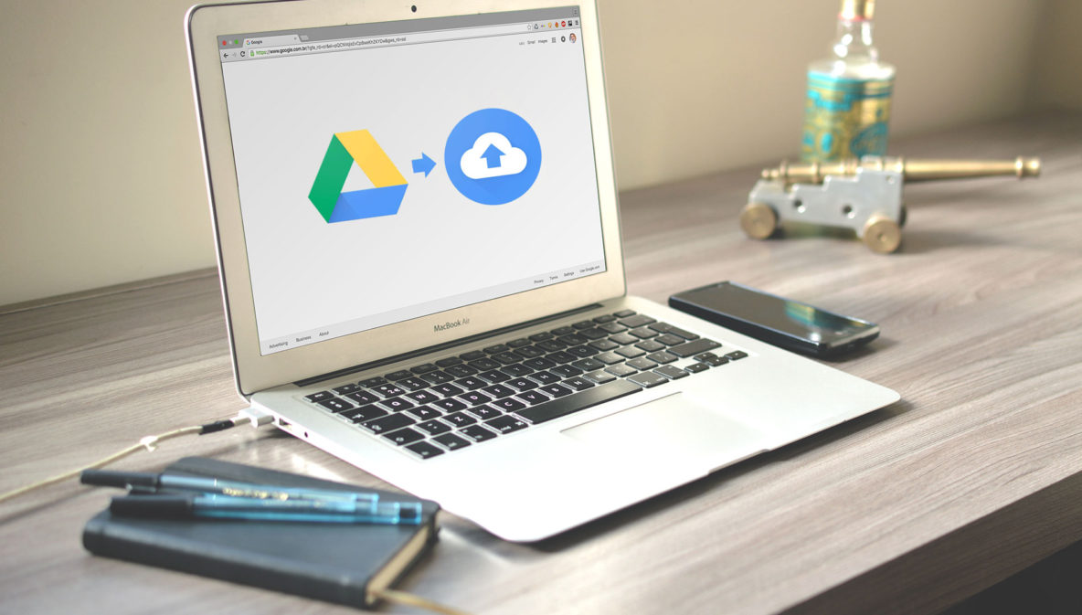 macbook air met google drive naar backup and sync logos