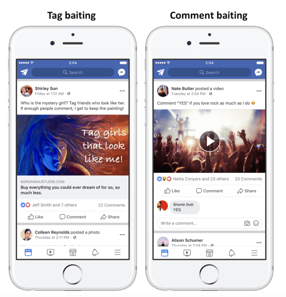facebook-tag-and-comment-baiting Engagementbait: likes vragen op Facebook? Pas vanaf nu goed op