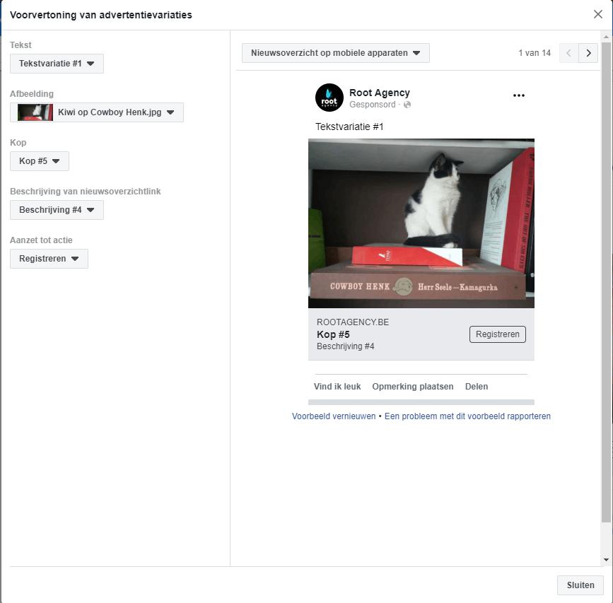 11.-Dynamisch-Advertentiemateriaal-popup-scherm-advertentievariaties Dynamisch advertentiemateriaal op Facebook (2019)