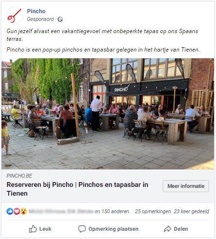 Pincho-tienen-voorbeeld-facebookadvertentie-reservaties-horeca Pincho